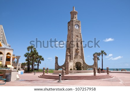 Daytona Beach has a beautiful stone clock tower to greet its guests and keeps them aware of the time.