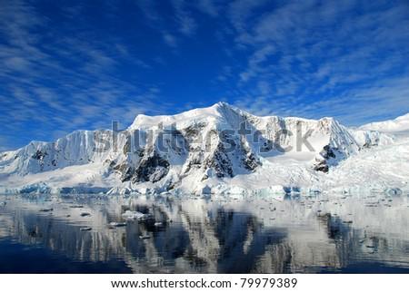 dazzling blue sky over the antarctic peninsula - stock photo