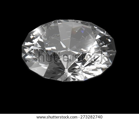 dazzling Diamond isolated on black  photo-realistic 3d rendering with clipping mask
