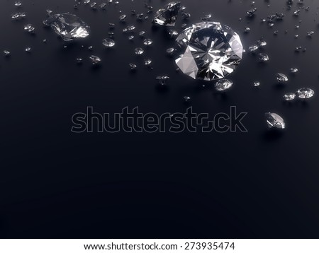 dazzling Diamond isolated on black reflective surface and have space for text or headline , photo-realistic 3d rendering with clipping mask