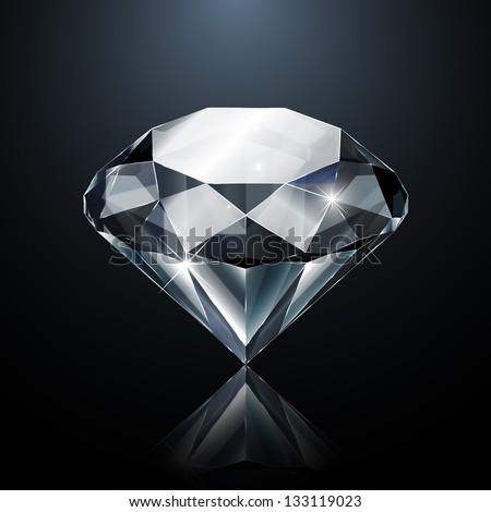 Dazzling diamond on black background with reflection  - raster version