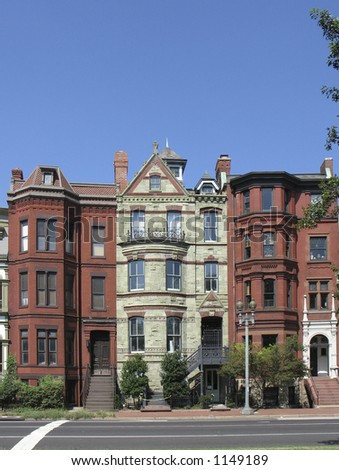 DC rowhouses- tall view - stock photo