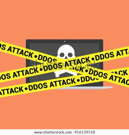 DDoS concept. Modern laptop with skull and crossbones and DDoS tape isolated on background