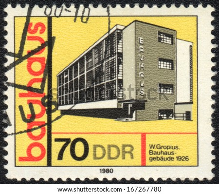 DDR- CIRCA 1980: A stamp printed in DDR  shows Bauhaus building, Bauhaus school, circa 1980  - stock photo