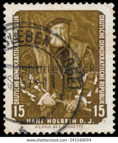 "DDR - CIRCA 1957: A stamp printed in DDR shows the painting Portrait of Morette, by Hans Holbein, from the series ""Famous Paintings from Dresden Gallery"", circa 1957."