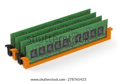 DDR4 memory modules  isolated on white background