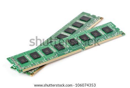 DDR memory on white background