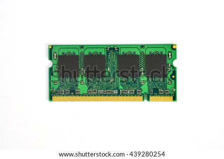 DDR RAM for notebook, Memory Chip Module Isolated On White - stock photo