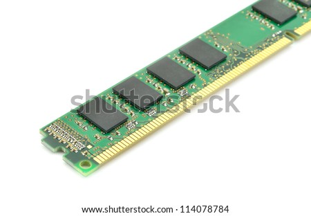 DDR RAM memory module isolated on white background