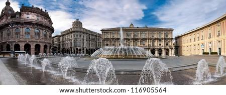 De Ferrari square with fountain in Genova, Italy - stock photo