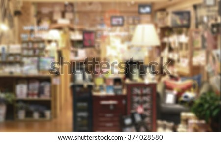 De focused/ Blurred image of a stationery store. Retro effect. - stock photo