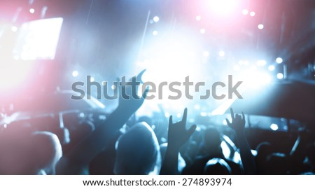 De-focused concert crowd,concert background. - stock photo