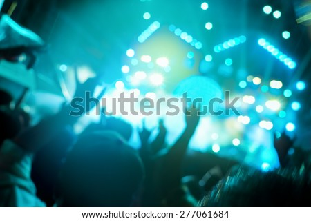 De-focused concert crowd,concert background. - stock photo