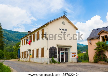 De local shool and town hall in Espies in France - stock photo