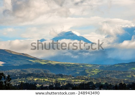 De Los Chillos Valley and Volcano Cotopaxi, Ecuador - stock photo