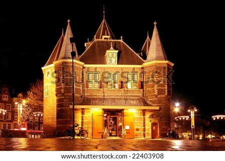 De Waag  building in Amsterdam the Netherlands by night