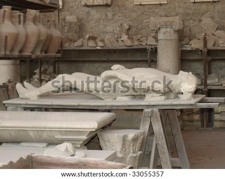 Dead Body of Pompeii - stock photo