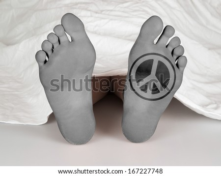 Dead body under a white sheet, concept of sleeping or death, peace symbol - stock photo
