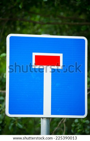 Dead end no through road traffic sign