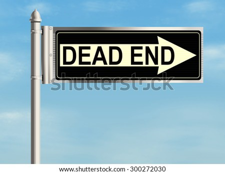 Dead end. Road sign on the sky background. Raster illustration.