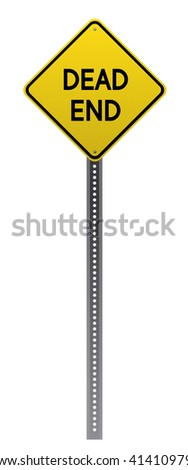 Dead End road sign. Yellow road sign on white background.Vector scalable highly detailed image. - stock photo