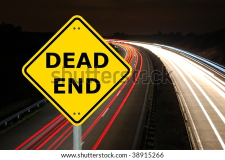 dead end road traffic sign with copyspace for text message - stock photo