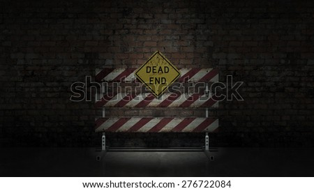 Dead end sign could represent various jobs or relationships - stock photo
