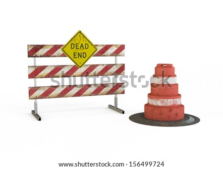 Dead End Sign isolated on white background - stock photo