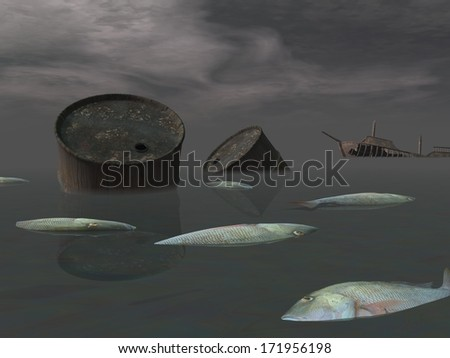 Dead fishes and oil tank in polluted ocean near tanker wreck by dark night - stock photo