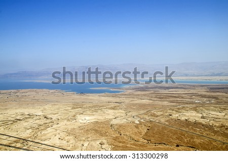 Dead Sea and mountains of Judean desert in Israel, amazing landscape, aerial view - stock photo
