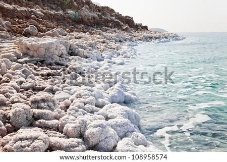dead sea coast at jordan - stock photo