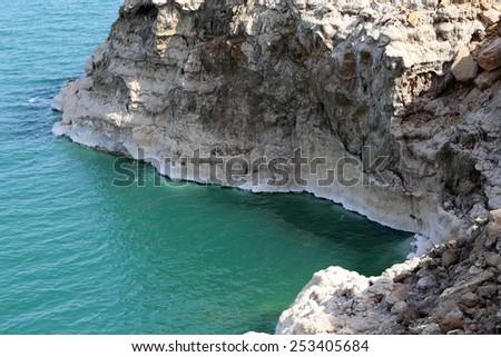 Dead sea coast at Jordan, Middle East  - stock photo
