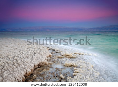 Dead Sea coastline - stock photo