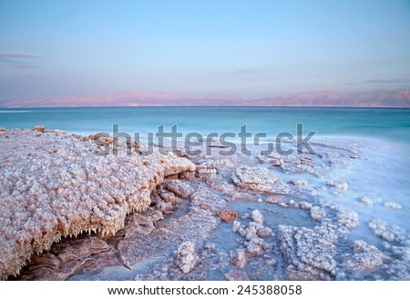 Dead Sea coastline. Israel - stock photo