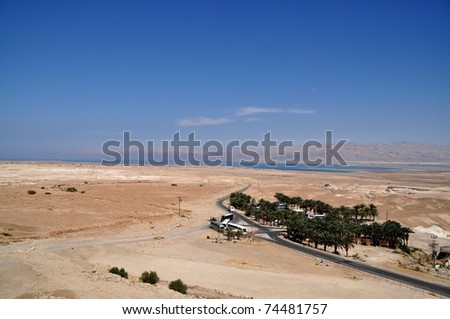 dead sea in background from masada mountain - stock photo