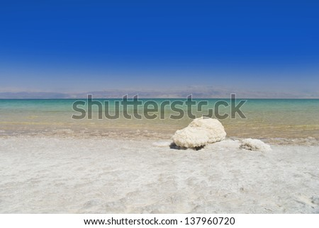 Dead Sea salt natural mineral formation at the Dead Sea, Israel. - stock photo