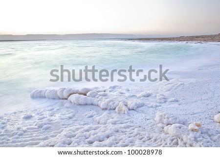 Dead Sea Salty shore in Jordan - stock photo