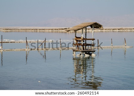 Dead Sea seashore with mountains on background - stock photo