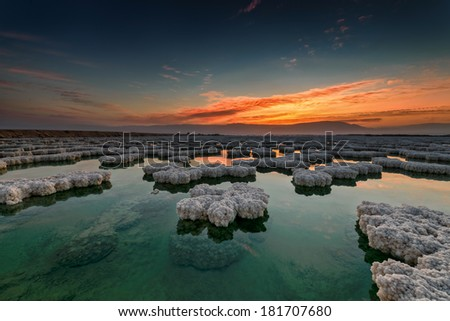 Dead sea sunrise - stock photo