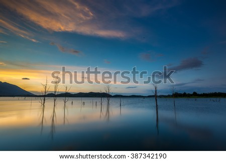 dead trees in a lake with a beautiful twilight sky - stock photo