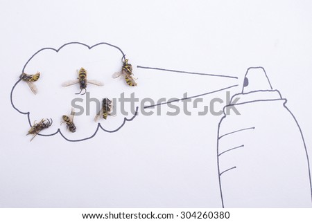 Dead wasp and spray can - stock photo