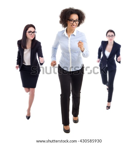 deadline concept - front view of running business women isolated on white background - stock photo