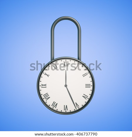 Deadline concept with closed clock lock on blue background. 3D Rendering - stock photo