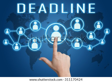 Deadline concept with hand pressing social icons on blue world map background. - stock photo