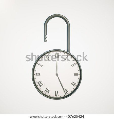 Deadline concept with open clock lock on light background. 3D Rendering - stock photo