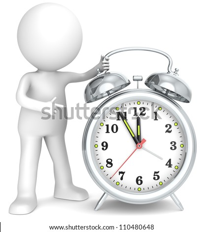 Deadline. 3D little human character pointing at a Clock. Hands at five to twelve. Metal. People series. - stock photo