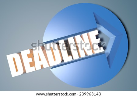 Deadline - 3d text render illustration concept with a arrow in a circle on blue-grey background