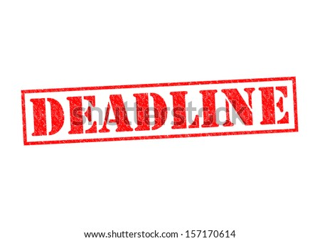 DEADLINE Rubber Stamp over a white background. - stock photo