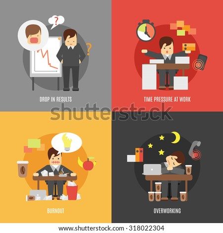 Deadline stress at work 4 flat icons composition of results drop burnout and overworking abstract  illustration - stock photo