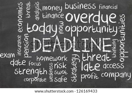 deadline word cloud on blackboard